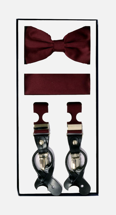 Men's Skinny Burgundy 3 Piece Suspenders Set | Elastic Button and Clip Convertible
