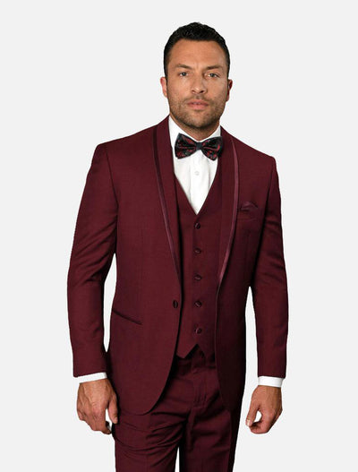 Statement Men's Burgundy Vested 100% Wool Tuxedo