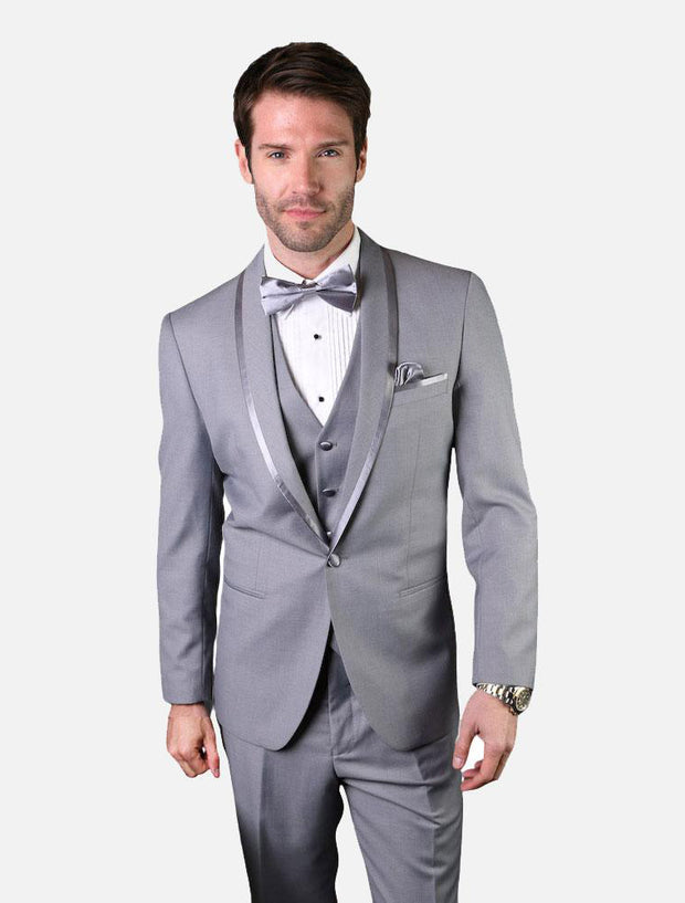 Statement Men's Grey Vested 100% Wool Tuxedo