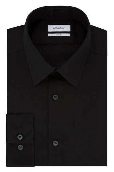 Calvin Klein Onyx Black Slim-Fit Non-Iron Twill Solid Dress Shirt