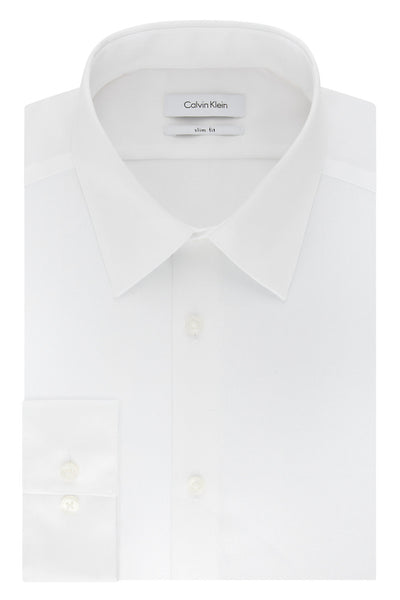 Calvin Klein White Slim-Fit Non-Iron Twill Solid Dress Shirt