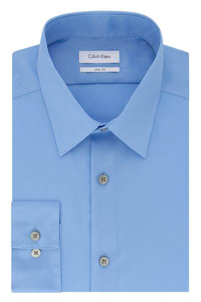Calvin Klein Light Blue Slim-Fit Non-Iron Twill Solid Dress Shirt