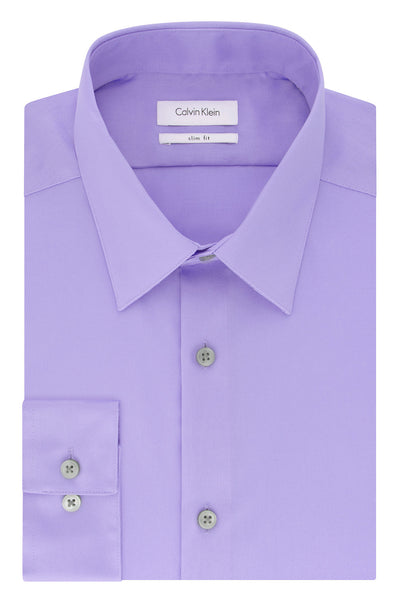 Calvin Klein Lavender Slim-Fit Non-Iron Twill Solid Dress Shirt