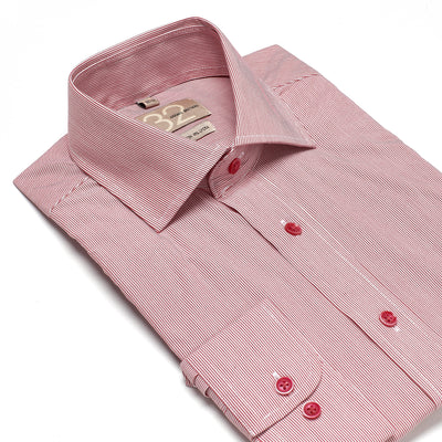 Men's Ruby Red & White Striped 100% Cotton Tailored Fit Dress Shirt - Showcasing Contrast Fabric