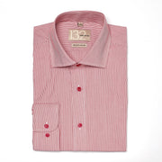Men's Ruby Red & White Striped 100% Cotton Tailored Fit Dress Shirt