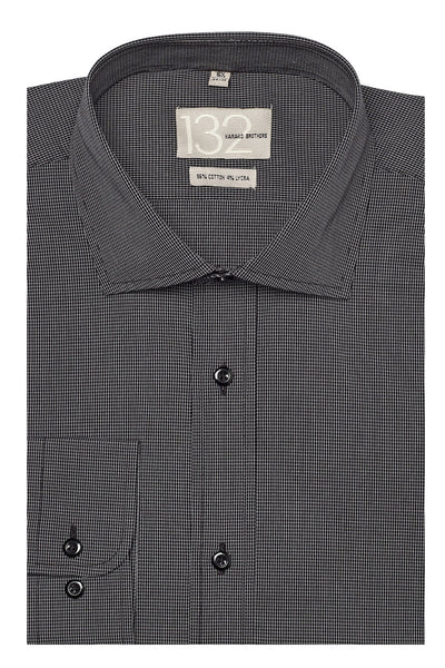 Men's Onyx Black & White Checkered 100% Cotton Tailored Fit Dress Shirt