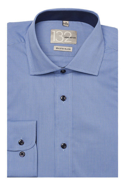 Men's Carolina Blue & White Checkered 100% Cotton Tailored Fit Dress Shirt