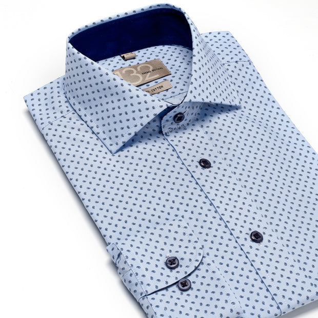 Men's Powder Blue and Navy Patterned 100% Cotton Tailored Fit Dress Shirt - Showcasing Contrast Fabric