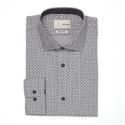 Men's Charcoal Muted and Black Patterned 100% Cotton Tailored Fit Dress Shirt