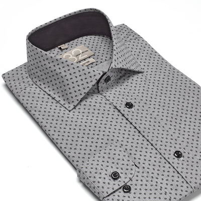 Men's Charcoal Muted and Black Patterned 100% Cotton Tailored Fit Dress Shirt - Showcasing Contrast Fabric