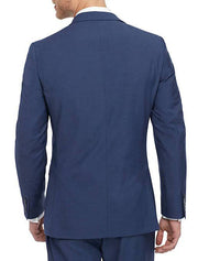 Blue Men's Slim Fit Stretch Suit Separates Jacket - Back