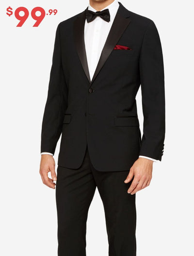 Mens Black Modern Fit Tuxedo - Front View With Price