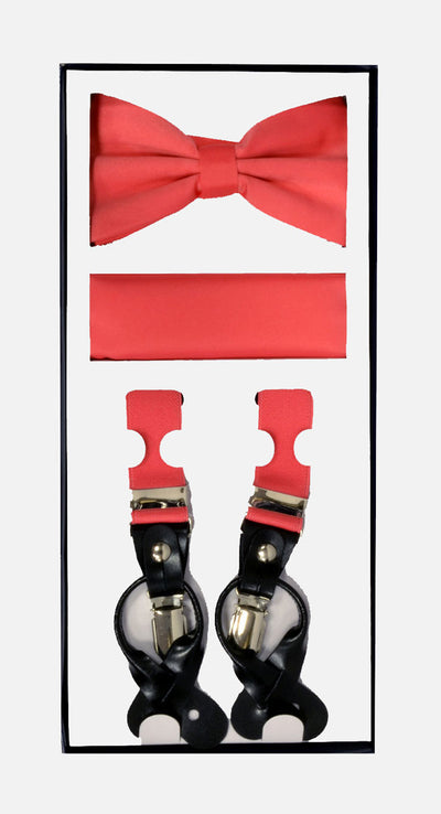 Men's Skinny Coral 3 Piece Suspenders Set | Elastic Button and Clip Convertible