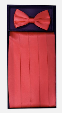 Men's Silk Coral Cummerbund with Bow Tie