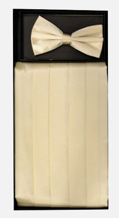 Men's Silk Cream Cummerbund with Bow Tie