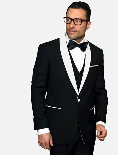 Statement Men's Black with White Lapel Vested 100% Wool Tuxedo