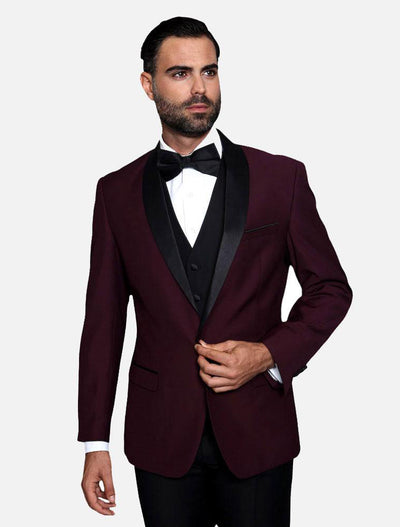 Statement Men's Burgundy with Black Lapel Vested 100% Wool Tuxedo