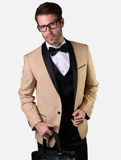 Statement Men's Champagne with Black Lapel Vested 100% Wool Tuxedo