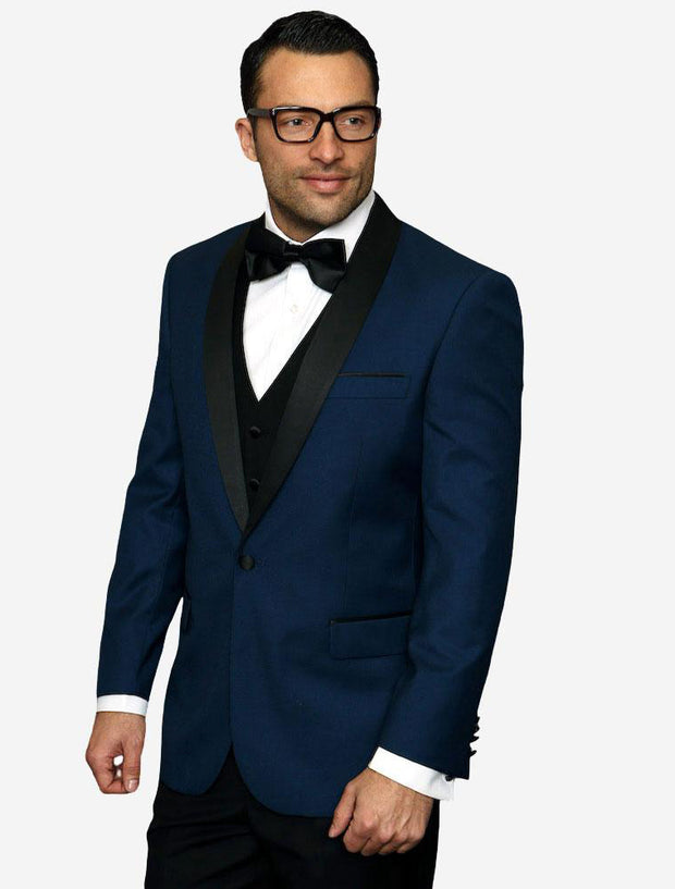 Statement Men's Indigo with Black Lapel Vested 100% Wool Tuxedo