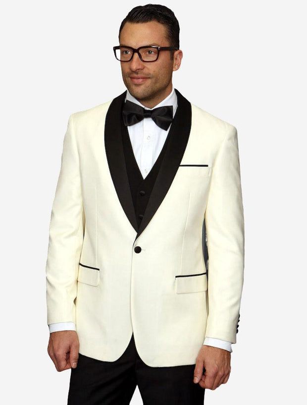 Statement Men's Ivory with Black Lapel Vested 100% Wool Tuxedo