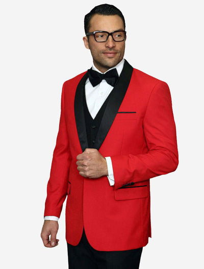 Statement Men's Red with Black Lapel Vested 100% Wool Tuxedo