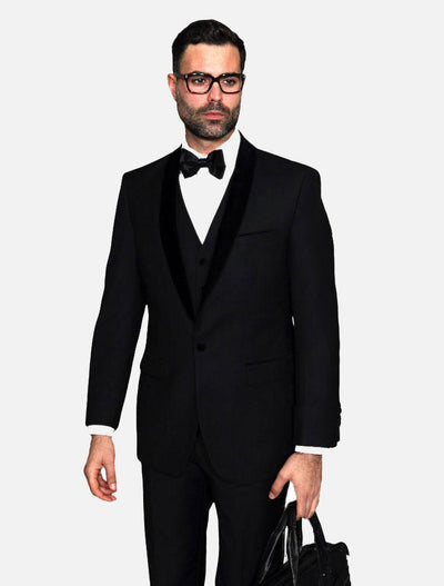 Statement Men's Black with Black Lapel Vested 100% Wool Velvet Tuxedo