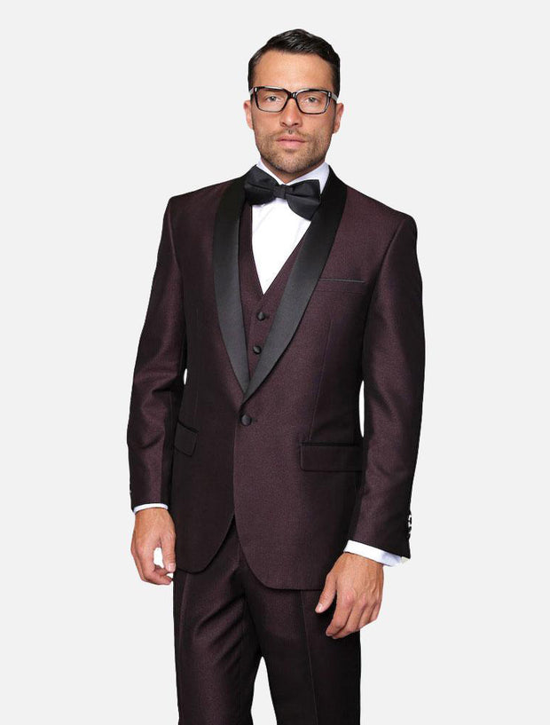 Statement Men's Plum with Black Lapel Vested 100% Wool Tuxedo