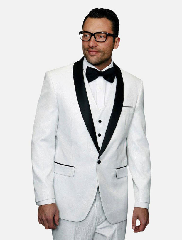 Statement Men's White with Black Lapel Vested 100% Wool Tuxedo