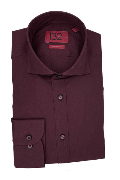 Men's Solid Crisp Burgundy 100% Cotton Tailored Fit Dress Shirt