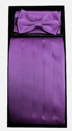 Men's Silk Eggplant Cummerbund with Bow Tie