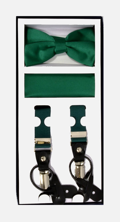 Men's Skinny Emerald 3 Piece Suspenders Set | Elastic Button and Clip Convertible