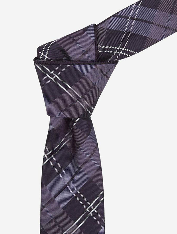 Plum & White Plaid Reversible Tie