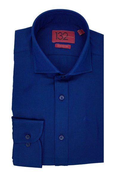 Men's Solid Oxford Royal Blue 100% Cotton Tailored Fit Dress Shirt