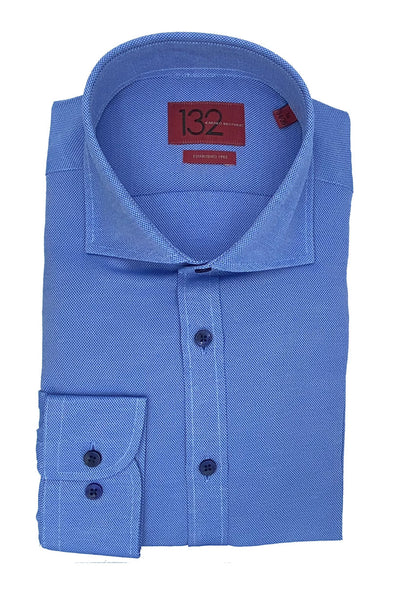 Men's Textured Chelsea Blue 100% Cotton Tailored Fit Dress Shirt