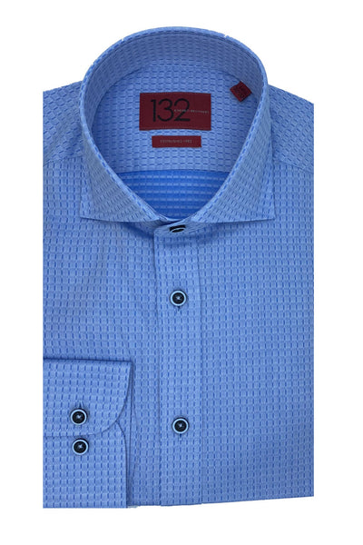 Men's Waved Quilt Blue 100% Cotton Tailored Fit Dress Shirt