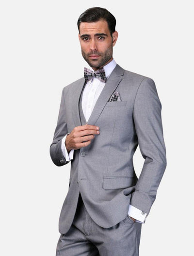 Statement Men's Solid Grey 100% Wool Ultra-Skinny Fit Suit