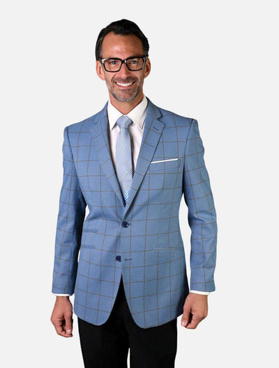 Statement Men's Light Blue Checker Patterned 100% Wool Slim Fit Sport Jacket