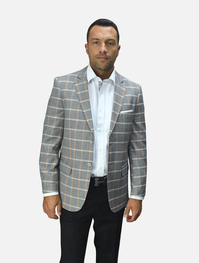 Statement Men's Light Grey with Salmon Checker Patterned 100% Wool Slim Fit Sport Jacket