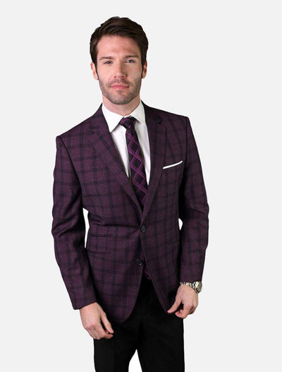 Statement Men's Burgundy Checkered 100% Wool Slim Fit Sport Jacket