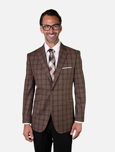 Statement Men's Chocolate with Dark Brown Checker Patterned 100% Wool Slim Fit Sport Jacket