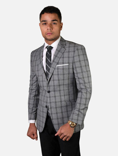 Statement Men's Grey with Black Checker 100% Wool Slim Fit Sport Jacket
