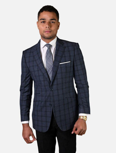 Statement Men's Navy Checker Patterned 100% Wool Slim Fit Sport Jacket