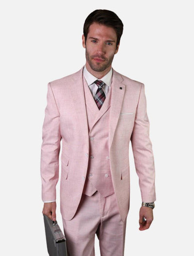 Statement Men's Dusty Pink with Double-Breasted Vest 100% Wool Slim Fit Suit