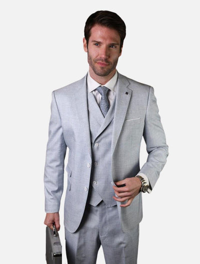 Statement Men's Dusty Grey with Double-Breasted Vest 100% Wool Slim Fit Suit