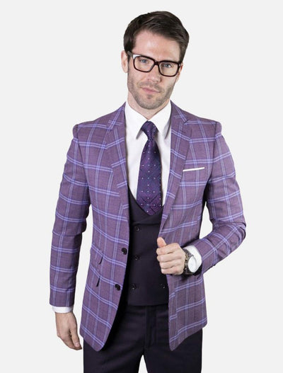 Statement Men's Eggplant & Dark Purple Plaid 100% Wool Slim Fit Suit