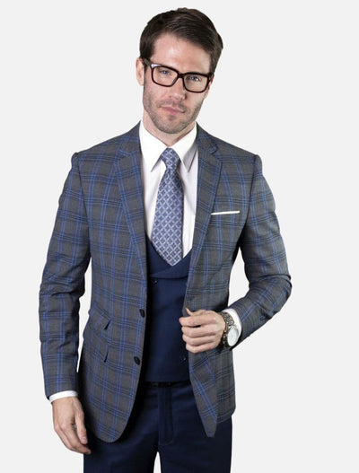 Statement Men's Sapphire & Navy Plaid 100% Wool Slim Fit Suit