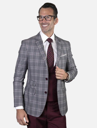 Statement Men's Burgundy, Grey & White Plaid 100% Wool Slim Fit Suit