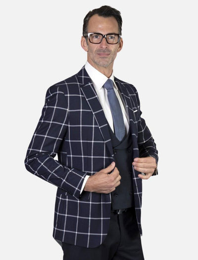 Statement Men's Navy Windowpane 100% Wool Slim Fit Suit
