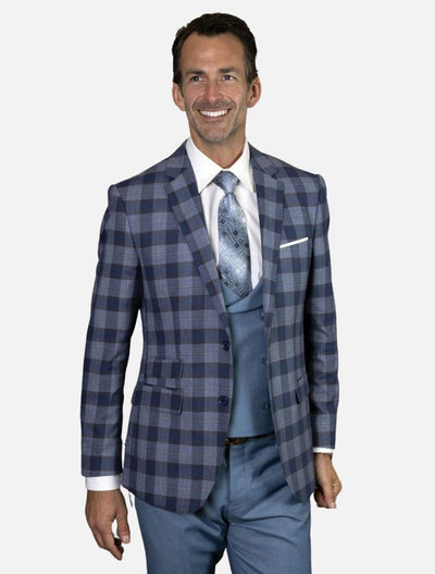 Statement Men's Indigo & Powder Blue Plaid 100% Wool Slim Fit Suit