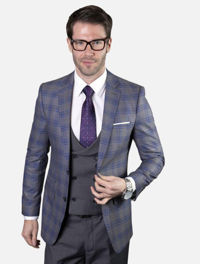 Statement Men's Charcoal & Blue 100% Wool Vested Suit